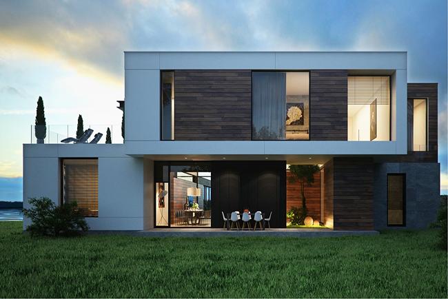 نمای ساختمان ترکیب سنگ و چوب